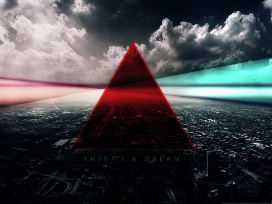 click to free download the wallpaper--Free Wallpaper Backgrounds, Red Triangle Overlooking the City, Dreamy Scene