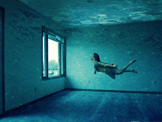 Free Water Wallpaper, Lady Swimming in Underwater Room, Breaking the Window