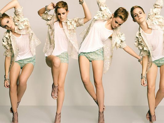 click to free download the wallpaper--Free Women Wallpaper, Emma Watson in Short Hair, Dance in Summer!