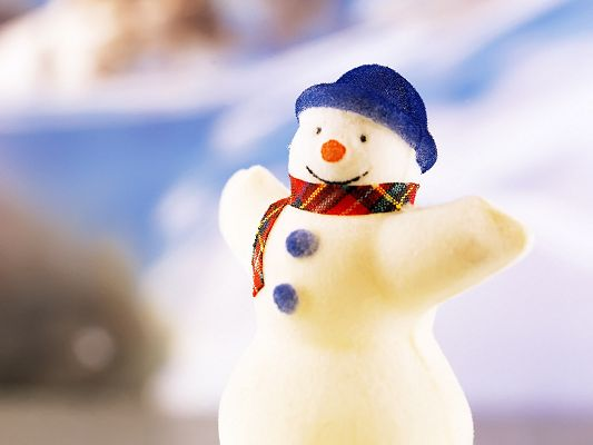 Free Scenery Wallpaper - A Christmas Snowman Happily Smiling!,click to download