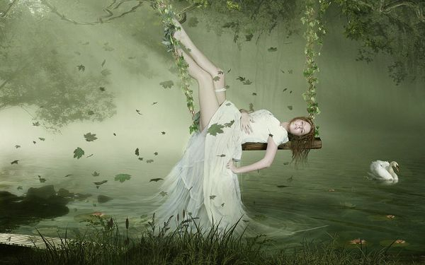 Free Scenery Wallpaper - A Fantasy Girl, What a Sleeping Beauty!