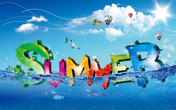 Free Scenery Wallpaper - Colorful Summer Letters Throwing Themselves into the Sea!,click to download