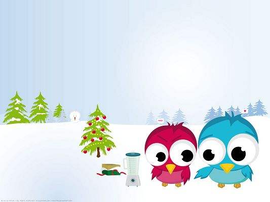Free Scenery Wallpaper - Includes 2 Funny Christmas Birds, Are They in Love?,click to download