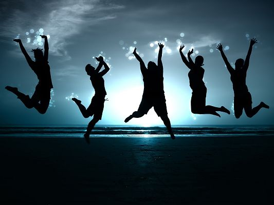 Free Scenery Wallpaper - Includes Five People Jumping on the Sand, All Happy and Confident!