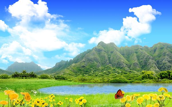 Free Scenery Wallpaper - Includes Green Mountains, Blue Sea and Yellow Flowers, Fit For All Users!