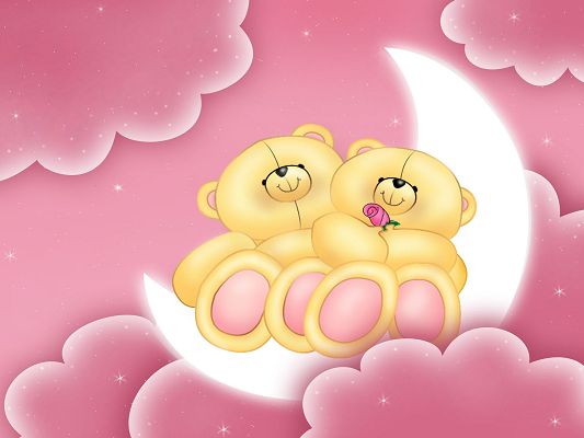 Free Scenery Wallpaper - Includes Love Teddies, Makes One Feel Romantic Love and Deep Affection!