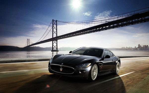 Free Scenery Wallpaper - Includes Maserati GranTurismo, Be Well on the Way!,click to download