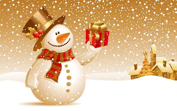 Free Scenery Wallpaper - Includes Snowman Christmas Gift, the Receiver Will be More than Happy!