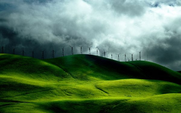 Free Scenery Wallpaper - Includes Wind Turbine Fields, Full of Ups and Down, Energitic and Lively!,click to download