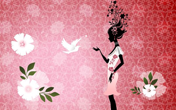 Free Scenery Wallpaper - Includes a Beautiful Girl and Her Dove, Can Comfort One's Mind!