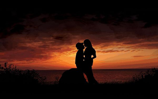 Free Scenery Wallpaper - Includes a Couple in Great Kiss, Makes One Confident in Love!