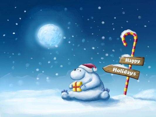 Free Scenery Wallpaper - Includes a Cute and Emotional Bear, Holding a Christmas Gift!