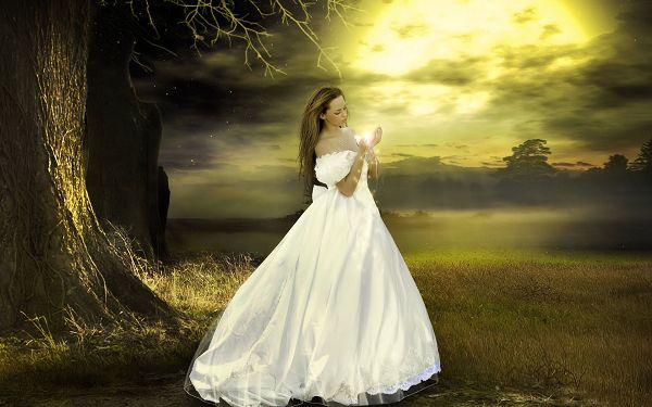 Free Scenery Wallpaper - Includes a Girl in White Dress, Is She the Bride?