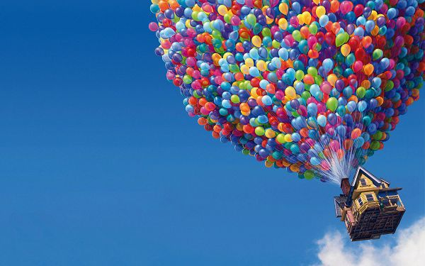 Free Scenery Wallpaper - Includes  an UP Movie Balloons House, a Wonderful Scene in the Sky!