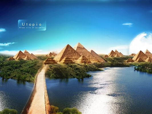 Free Scenery Wallpaper - Includes the Pyramids of Utopia, What an Amazing Scene!,click to download