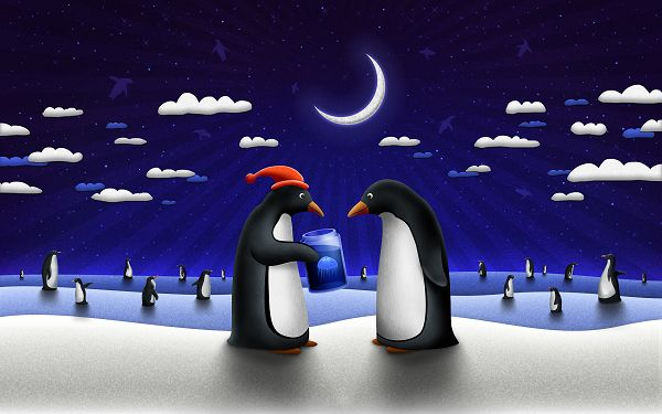 Free Scenery Wallpaper - Penguins Sending Gift and Making Wishes for Christmas, What About You?