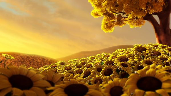 Free Scenery Wallpaper - Presents a Sun Flower World, Making One Helpful and Optimistic!