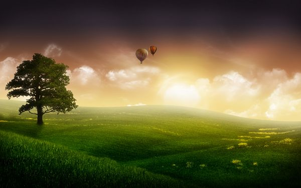Free Scenery Wallpaper - Shows the Scene of Nature Balloon Ride, Beautifies Any Digital Device!