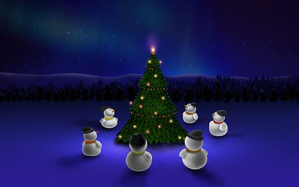 Free Scenery Wallpaper - Six Snowmen Waiting for Christmas, Waiting Can be Happy!