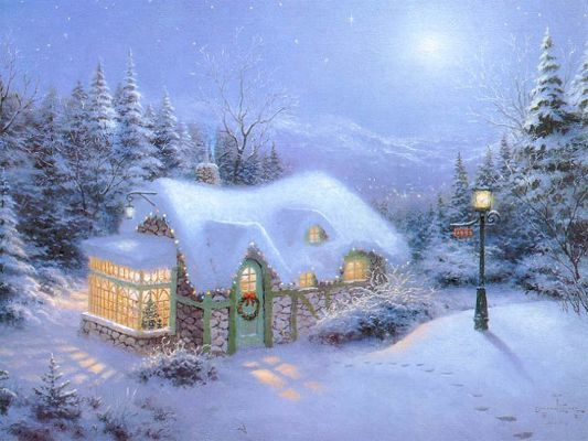 Free Wallpaper - A Cozy and Warm House in the Snowy World,click to download