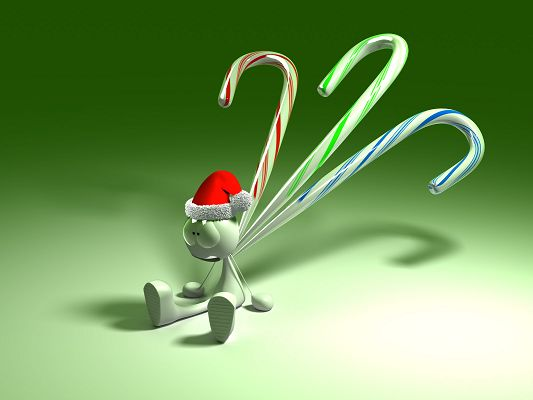 Free Wallpaper - A Green and Exhausted Robot, Turn to Christmas Hat for Power!,click to download