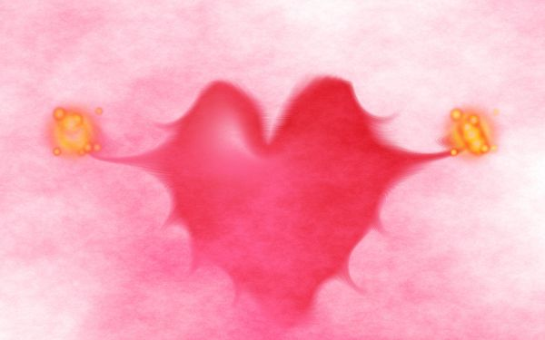 Free Wallpaper - A Pink Heart with Wings, Free to Go Anywhere!
