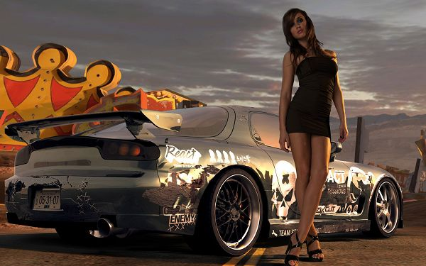 Free Wallpaper - Cool Girl and a Cool Car,click to download
