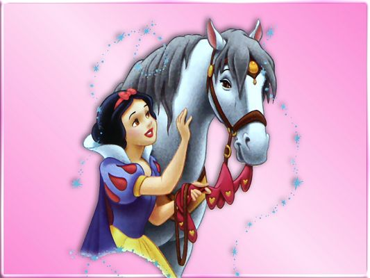 Free Wallpaper - Includes Snow White and Her Handsome Horse, May God Bless Them!