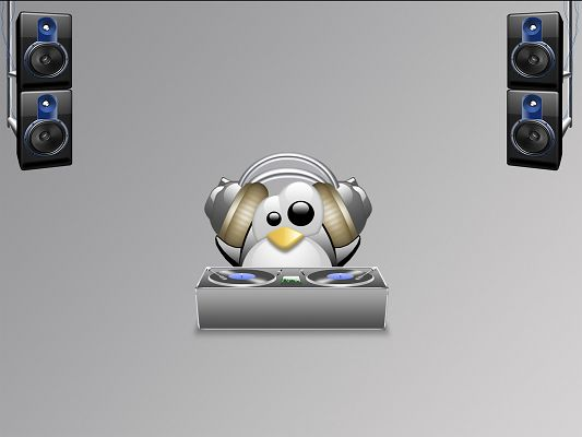 Free Wallpaper - Includes a Penguin, What a DJ!