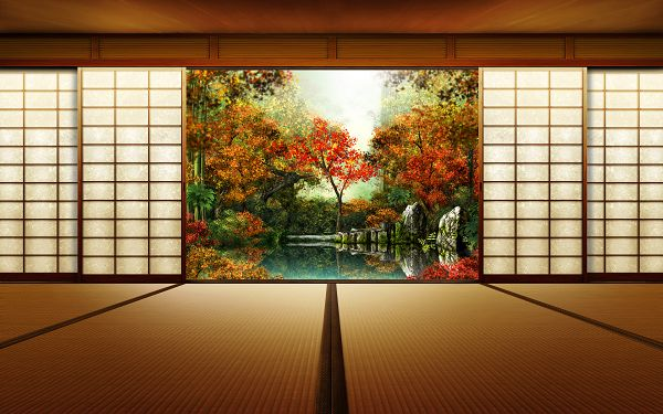Free Wallpaper - Includes an Enormous Japanese Garden, Impressive for Being Clean!