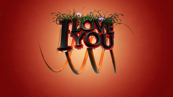 Free Wallpaper - Includes an I Love You Symbol, Seems Fresh and Lively!