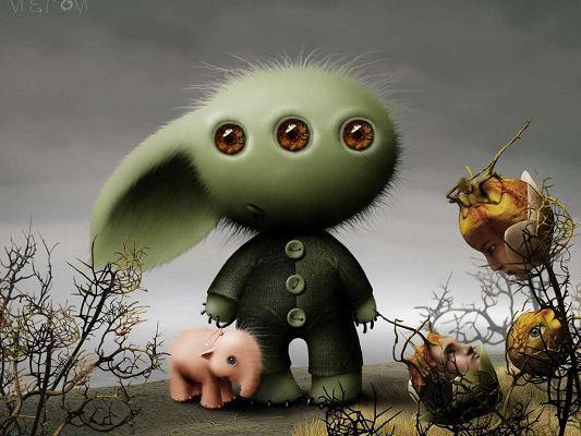 Free Wallpaper - Shows the Creatures in Another Planet, Strange Yet Cute!,click to download