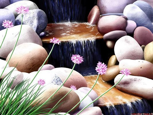 Free Wallpaper - What a Scene with Stones, Flowers and a Clear River,click to download