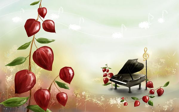 Free Wallpaper - Who Is Coming to Play the Most Beautiful Melody?,click to download