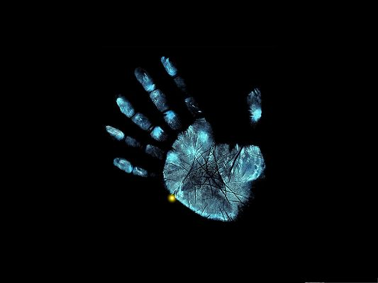 click to free download the wallpaper--Fringe TV Series, Blue and Lighted Up Handprint on  Black Background