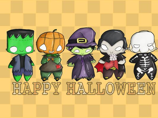 click to free download the wallpaper--Funny Holiday Pictures, Halloween's Day Coming, Dress Scared, Play Trick or Treat