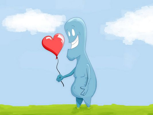 click to free download the wallpaper--Funny Images, a Man Picks Up a Red Heart Balloon, He is Lucky and Smiling
