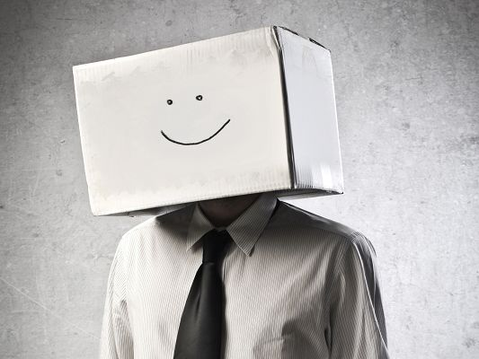 click to free download the wallpaper--Funny Man Wallpaper, Danbo Box Man, Smiling Face, Be Like Him!