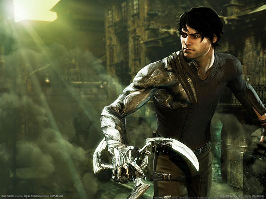 click to free download the wallpaper--Games Poster, Dark Sector, a Well-Equipped Guy, the Rising Sun, He is Strong and Nice-Looking