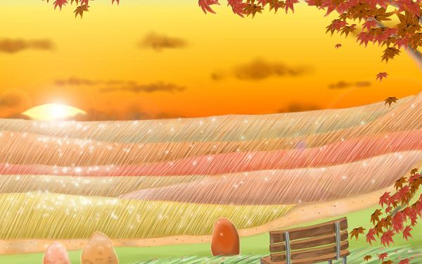 Gentle Wind Blowing, River Flows Like Bright and Shinning Golds, Scene is Too Good to be True - Autumn Fairytale Wallpaper