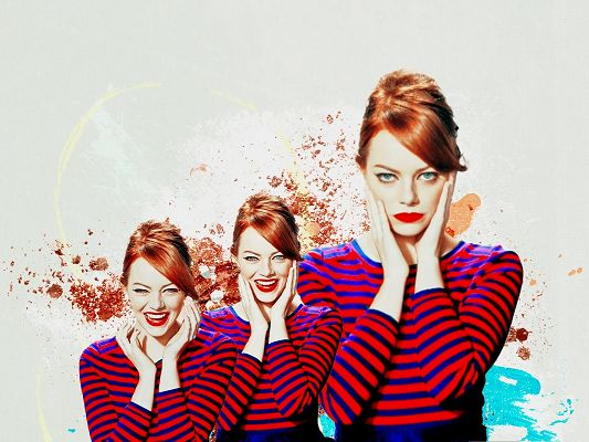 click to free download the wallpaper--Girl Download Pictures, Emma Stone in Red Hair, Wide Smile