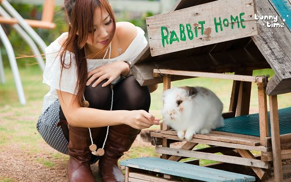 Girl Raising a Cute Rabbit in Her Small Home, She is Lovely and Beautiful, This is a Warm and Cozy Scene - HD Attractive Girls Wallpaper