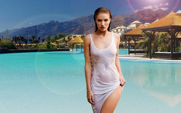 click to free download the wallpaper--Girl Walking Out of Swimming Pool, Dress is All Wet, Serving as the None Other Attraction - Rosie Huntington Whiteley