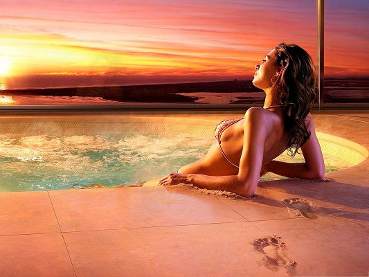 Girl in Bikini, Hot Girl Relaxing in the Pool, Golden and Shinning Body