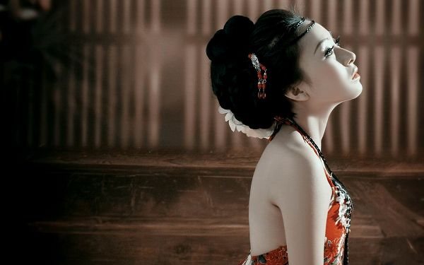 Girl in Chinese Ancient Hairstyle and Dress, Snowy White Skin, Must be Missing Her Home - HD Attractive Girls Wallpaper
