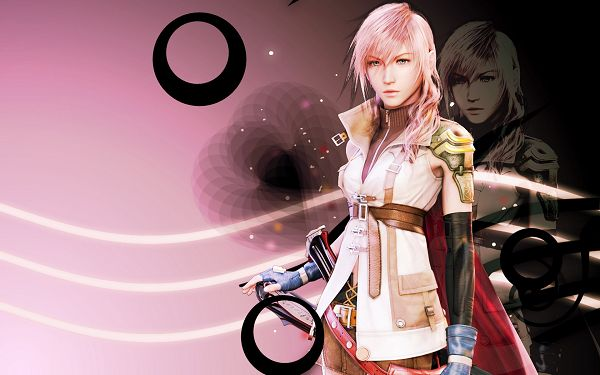 click to free download the wallpaper--Girl in Cool Facial Expression and Handsome Look, on Simple Background, It Shall Fit Any Computer - HD Final Fantasy Wallpaper