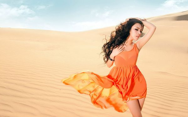 Girl in Orange Dress and Nice Pose, Dress is Flying and Dancing with the Wind, She is Such an Attraction in the Desert - HD Artists Wallpaper