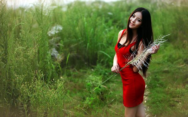 click to free download the wallpaper--Girl in Red Dress, the None Other Attraction in Green Field and Grass, the Most Impressive for Her Purity - HD Attractive Women Wallpaper