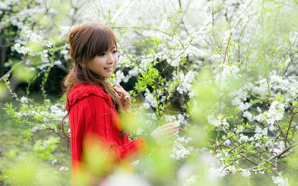Girl in Red Sweater and Smiling Facial Expression, Flowers Are Also Smiling and Stretching the Hands to Welcome Her - HD Attractive Girls Wallpaper