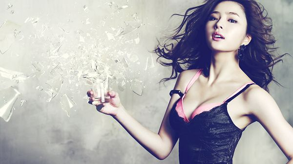 click to free download the wallpaper--Girl in Tight Black Dress, Glass is Broken by Force, She is in Appealing Pose and Facial Expression - HD Attractive Girls Wallpaper